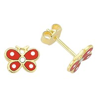 Goldstore 14 Ayar Altın Renkli Kelebekler Mineli Küpe Ge28405