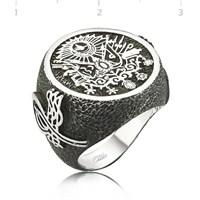 Tekbir Silver 925 Gümüş Osmanlı Armalı Padişah Erkek Yüzük MR1050006