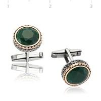 Gumush 925 Yeşil Zirkon Taşlı Yuvarlak Kol Düğmesi   Cfl1350005