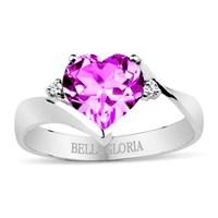 Bella Gloria Altın Kaplamalı Pırlanta Ametist Aşk Yüzüğü (GPY0010)