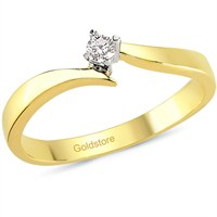 Goldstore 14 Ayar Altın 0.06 ct Pırlanta Tek Taş Yüzük DRS24276