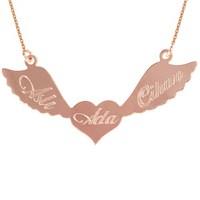 Goldstore 14 Ayar Altın İsim Kanatlı Kalp Kolye PNJ27848