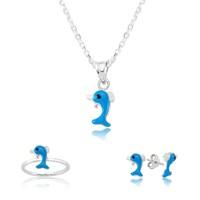 Gumush 925 Mavi Yunus Balığı Çocuk Seti   St1160010