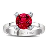 Bella Gloria Altın Kaplamalı Kırmızı Kuartz Pırlanta Yüzük (GPY0019) - İNCİ KÜPE HEDİYELİ