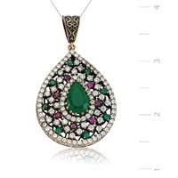 Gumush Gümüş Zirkon Yeşil Taşlı Otantik Damla Kolye| PT1270087