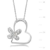 Bayan Lili Gümüş Kalbimin Kelebeği Kolye