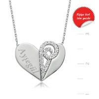 Gumush 925 Zirkon Taşlı İsimlik Kalp Gümüş Kolye
