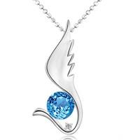 Chavin Mavi Topaz Taşlı Pırlantalı Melek Kanadı Altın Kaplama Gümüş Kolye 9ba961