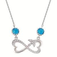 Argentum Mavi Taşlı Kalpli Sonsuzluk Kolye