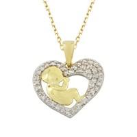 AltınSepeti Kalp içinde Bebek Altın Kolye AS522KL