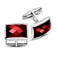 Tesbihane 925 Ayar Gümüş Kırmızı Zirkon Taşlı Kol Düğmesi