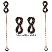 Tesbihane 925 Ayar Gümüş Siyah Zirkon Taşlı Sonsuzluk Model Japon Sallantılı Küpe