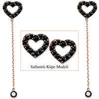 Tesbihane 925 Ayar Gümüş Siyah Zirkon Taşlı Boş Kalp Model Japon Sallantılı Küpe