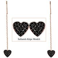 Tesbihane 925 Ayar Gümüş Siyah Zirkon Taşlı Kalp Model Japon Sallantılı Küpe