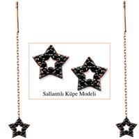 Tesbihane 925 Ayar Gümüş Siyah Zirkon Taşlı Yıldız Model Japon Sallantılı Küpe