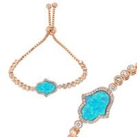 Gumush Mavi Opal Taş Fatma'nın Eli Su Yolu Gümüş Bileklik