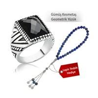 Tekbir Silver Gümüş Kesmetaş Geometrik Yüzük