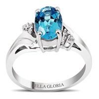 Bella Gloria Altın Kaplamalı Mavi Topaz Tektaş Pırlanta Yüzük (GPY0028)