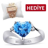 Bella Gloria Altın Kaplamalı Pırlanta Mavi Topaz Aşk Yüzüğü (GPY0009)