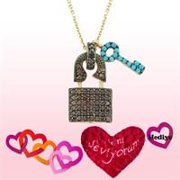 Gumush Gümüş Firuze Taşlı Kalbimin Anahtarı Kolye