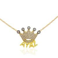 Chavin Gümüş Üzeri Altın Kap. İsminize Özel Kral Tacı Kolye Ce98