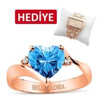 Bella Gloria Mavi Topaz Roz Aşk Yüzüğü (GPY0042)