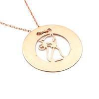 Solfera Kedi İşlemeli Plaka 925 Ayar Rose Gümüş Kolye