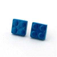 Solfera Lego Parçası Blok Mavi Renk Küpe
