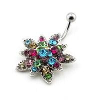 Solfera Renkli Taşlı Çiçek Göbek Piercing