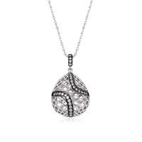 Altınsepeti Gümüş Damla Modeli Taşlı Kafes Kolye Asmk000063
