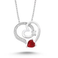 Silver & Silver Kırmızı Taşlı Kalp Swarovski Taşlı Kolye