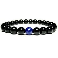 Takıcadde Siyah Parlak Oniks Lapis Lazuli Doğal Taş Bileklik