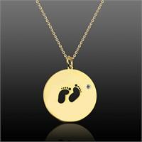 Aslaner Swarovski Taşlı Bebek Ayakları Gümüş Kolye