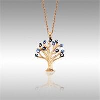Sheamor Mavi Lacivert Nazar Boncuğu Ağaç Altın Kolye