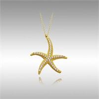 Sheamor Deniz Yıldızı Tek Sıra Taşlı Altın Kolye