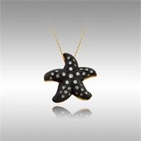 Sheamor Deniz Yıldızı Siyah Zemin Altın Kolye