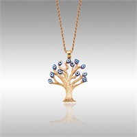 Sheamor Mavi Nazar Boncuğu Ağaç Altın Kolye