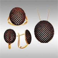 Sheamor Elips Siyah Taşlı Altın Set