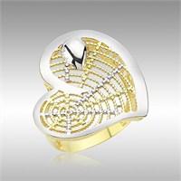 Sheamor Kalp Bayan Gümüş Yüzük Sarı