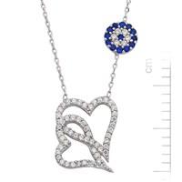 Bella Gloria Altın Kaplamalı Gümüş 'Nazarlı Kalpler' Kolye (GK00053)