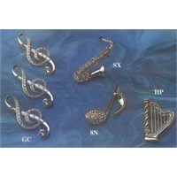 Enstrümanlı Altın - Gümüş Kaplama Broş Çeşitleri