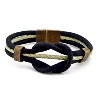 Solfera Alaçatı Düğümü Siyah Deri Erkek Bileklik Bt014