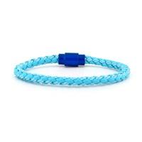 Solfera Mavi Özel Deri Erkek Bileklik Mıknatıslı Bt057