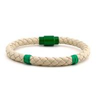 Solfera Krem Renk Deri Erkek Bileklik Yeşil Bt086