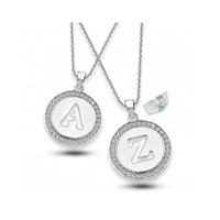 Aslaner Swarovski Taşlı Madalyon Harf Gümüş Kolye