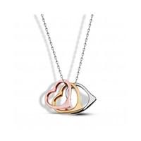 Aslaner Üçlü Kalp Set Gümüş Kolye