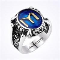 Mina Silver Pençe Kayı Boyu Logo Mavi Renk Taşsız Gümüş Erkek Yüzük