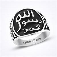 Mina Silver Hz Muhammed Mühür Taşsız Gümüş Erkek Yüzük