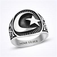 Mina Silver Ay Yıldız Taşsız Siyah Taşsız Gümüş Erkek Yüzük