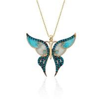 Glorria 14 Ayar Altın Kelebek Kolye